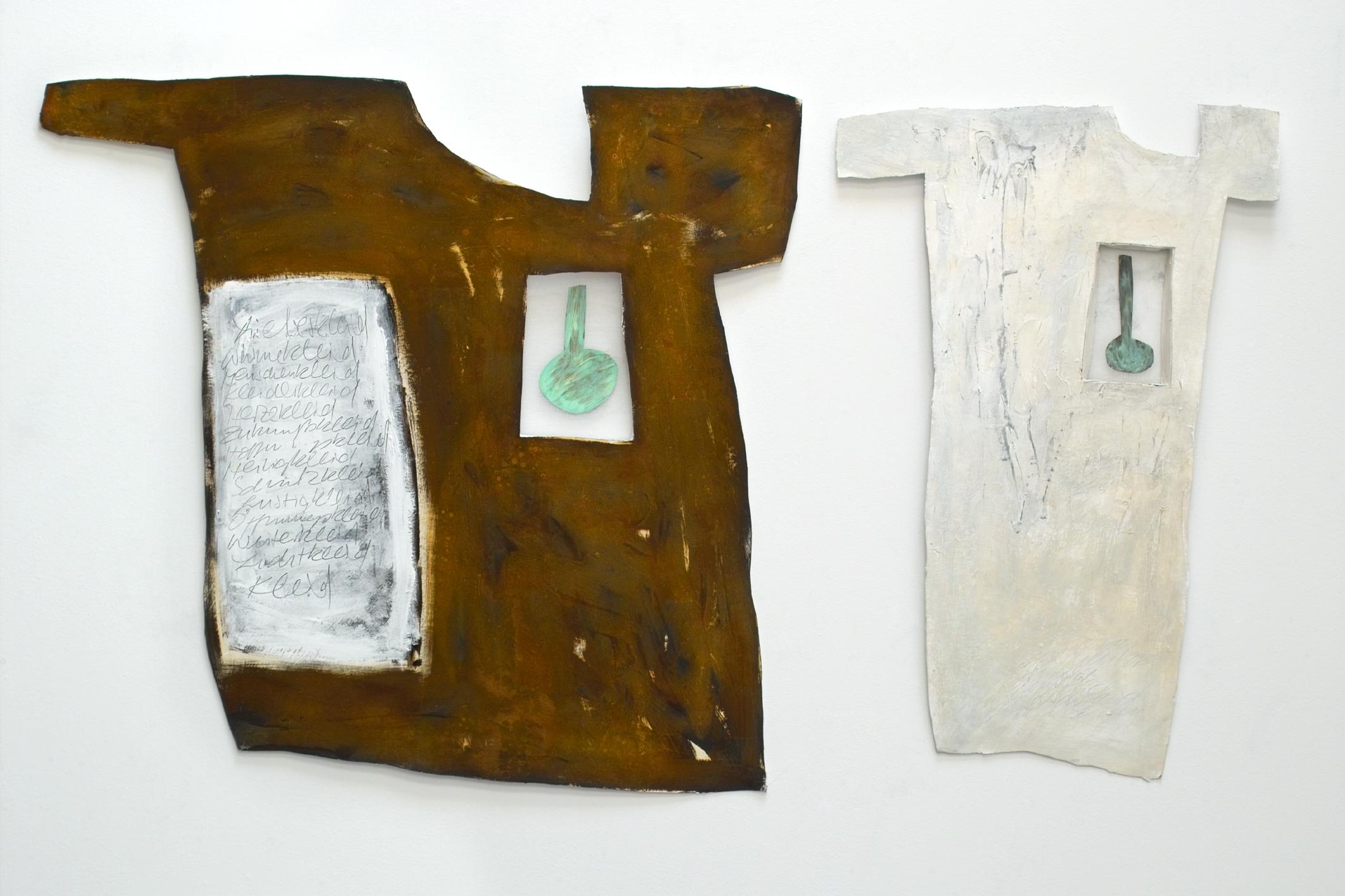 Wärmepumpen, 2003, Mischtechnik auf Filzpappe, ca. 90 x 90 cm und 50 x 90 cm