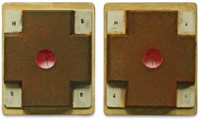 """""""M444"""" und """"H598"""", jeweils 2011, Objekt, Mischtechnik, Holz/Eisen, 12,5 x 15 cm"""