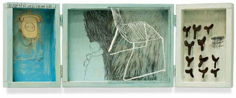 o.T., 2012, Objekt–Klappkasten, 30 x 15 x 2,5 cm