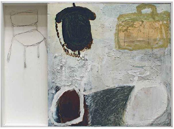 """""""Reise"""", 2013, Objektbild, Mischtechnik auf Filzpappe/Holz, 70,5 x 52 x 6 cm"""