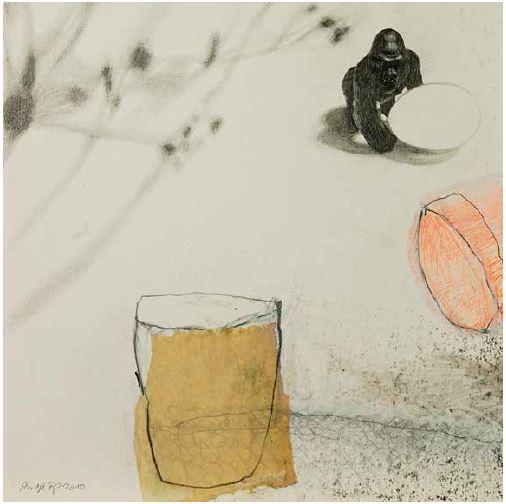 o.T., 2010, Collage / Zeichnung auf Papier, 24 x 24 cm