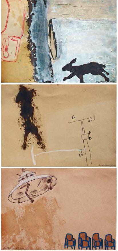 jeweils o.T., 2011, Mischtechnik auf Papier, 21 x 15 cm