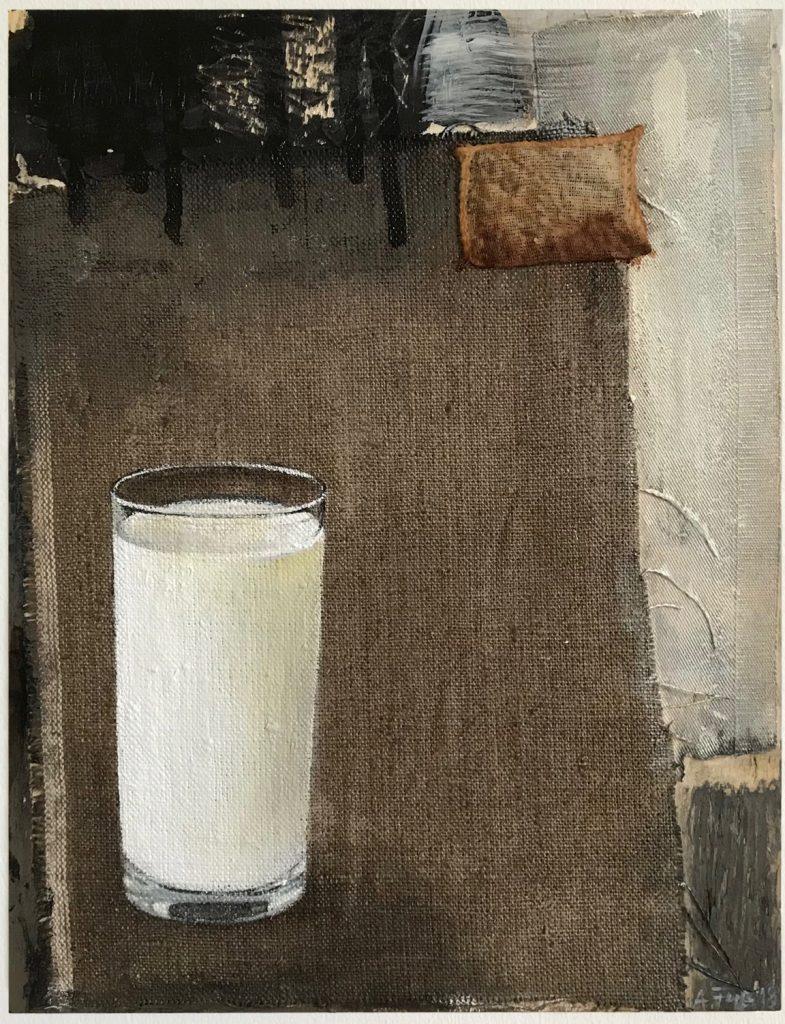 """""""Milchglas II"""", 2018, Mischtechnik auf Leinen/ Holz, 23 x 30 cm"""